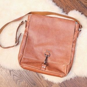 M. Andronia Pebbled Leather Messenger Bag